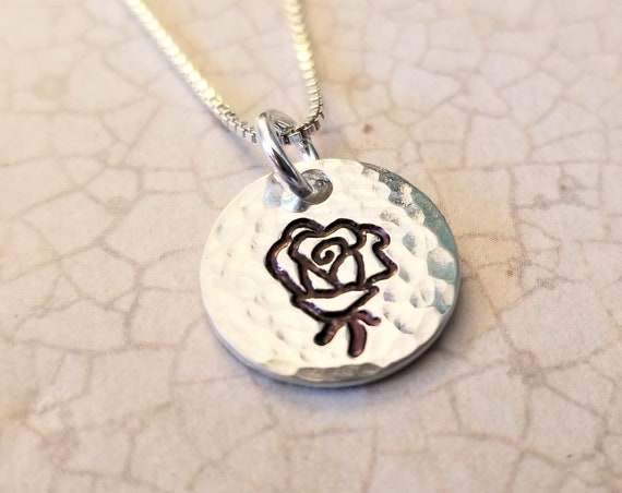 Rose Necklace / Sterling Silver Rose Jewelry / Floral / Flower / Hand-stamped Rose / Hand Stamped Jewelry