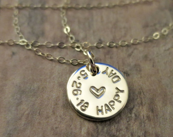 Wedding Day Necklace | Happy Day Necklace | Personalized Date Jewelry | Custom Date Necklace | 14k Gold Fill Pendant | Hand Stamped Jewelry