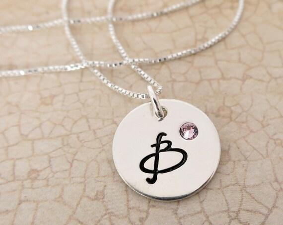 Initial Necklace with Birthstone - Sterling Silver Initial Jewelry - Swarovski Crystal Birthstone - Embedded Crystal - Birth Month Jewelry