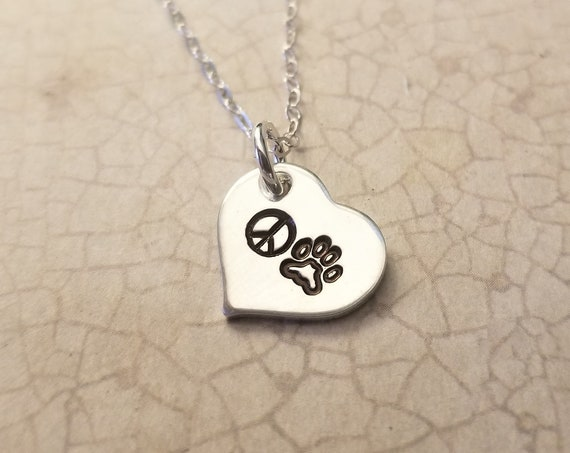 Peace, Love, Paws / Dog Necklace / Cat Necklace / Heart Necklace / Pet Lover Jewelry / Pawprint / Peace Sign / Pet Mom / Pet Lover Gift