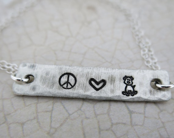 Bracelet | Sterling Silver | Peace Love Dog | Peace Love Cat | Gift for Pet Lover | Gift for Dog Lover | Gift for Cat Lover