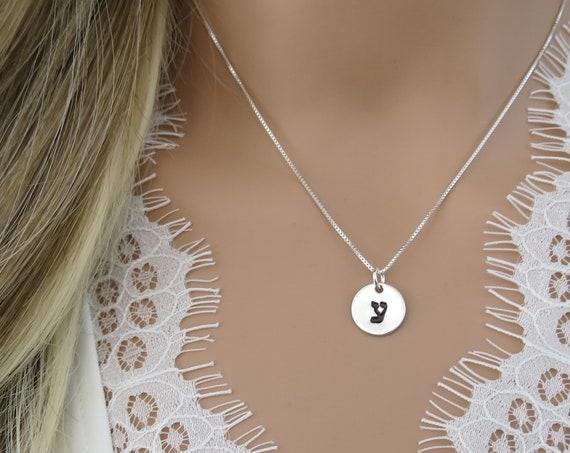 Hebrew Initial Necklace | Classic Block Hebrew | Large Hebrew | Hebrew Jewelry | Hand Stamped Hebrew | Sterling Silver | Monogram