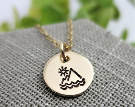 Ready to Ship | Mountains Sea and Sky Necklace | 14k Gold Filled | Hand Stamped Jewelry