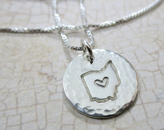 Ohio Love Jewelry   Ohio Outline with Heart   Sterling Silver   Hand Stamped   Hammered