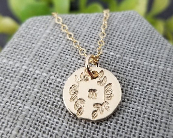 Gold Monogram Necklace | Gold Disc Necklace | Gold Initial Necklace | Gold Letter Necklace | Magnolia Necklace | Typewriter Initial