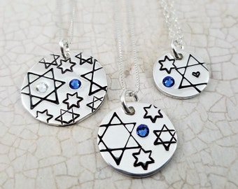 Jewish Star Necklace   Jewish Jewelry   Judaica   Star of David Necklace   Magen David Jewelry   Sterling Silver   Bat Mitzvah Gift
