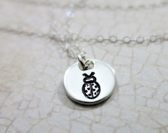 Lady Bug Necklace | Itsy Bitsy Lady Bug Necklace | Good Luck Charm | Good Luck Jewelry | Sterling Silver | Hand Stamped | Tiny Pendant