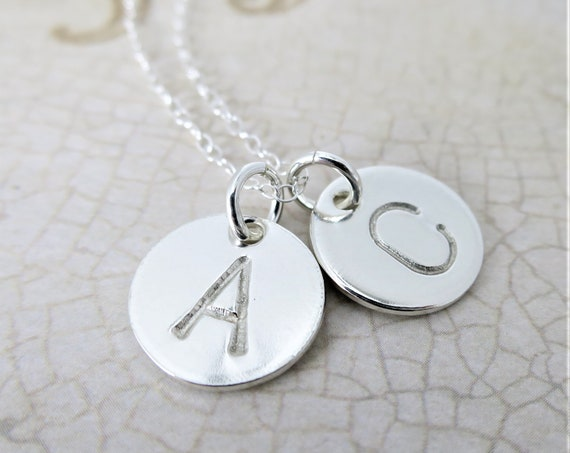 Sterling Silver Initial Necklace | Hand Stamped Pendant Necklace | Monogram Necklace | Custom Monogram Jewelry | Small Discs