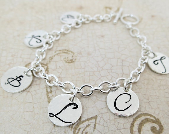 Sterling Silver Charm Bracelet | Silver Initial Bracelet | Family Initials Bracelet | Hand Stamped Bracelet | Gift for Mom or Grandma