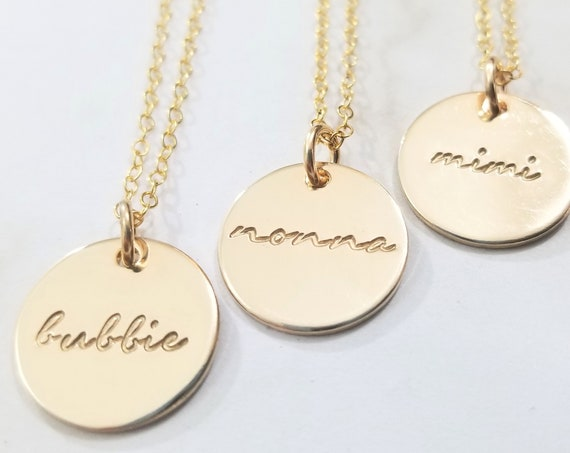 Grandma Necklace | Bubbe Jewelry | Bubbie | Nonna | Mimi | Gold Fill Disc | Gold Fill Pendant | Hand Stamped | 14k Gold Filled
