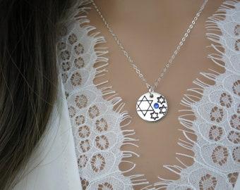 Judaica Stars & Sparkles Collection   Jewish Star Necklace   Sterling Silver   Swarovski Crystal   Hand Stamped