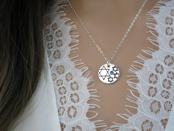Judaica Stars & Sparkles Collection | Jewish Star Necklace | Sterling Silver | Swarovski Crystal | Hand Stamped