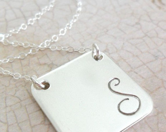 Large Script Initial Necklace | Sterling Silver | Square Pendant