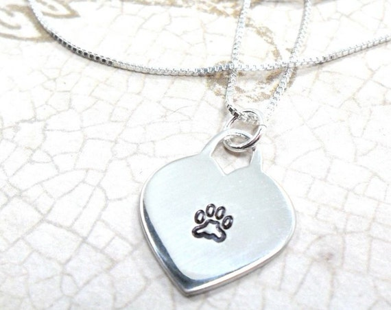 Paw Print Necklace | Pet Jewelry | Paw Print Jewelry | Sterling Silver Heart with Paw Print | Dog Jewelry | Cat Jewelry | Hand Stamped Paw