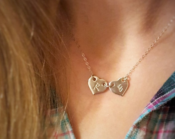 Two Hearts - Sterling Silver Monogram Necklace
