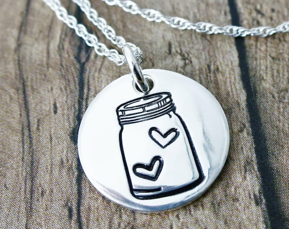 Mason Jar Necklace | Heart Necklace | Sterling Silver Disc Necklace | Mason Jar Jewelry | Hand Stamped | Hearts in a Mason Jar