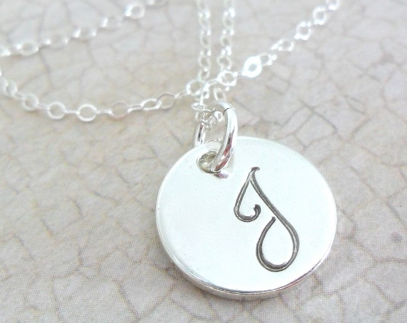 Script Initial Necklace | Sterling Silver Initial Necklace | Classic Initial Necklace | Silver Pendant Necklace | Layering Jewelry | Daniela