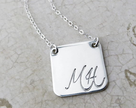 Script Initial Necklace | Sterling Silver |  Gold Filled | Rounded Square | Initial Jewelry | Custom Initial Necklace | Personalized Jewelry