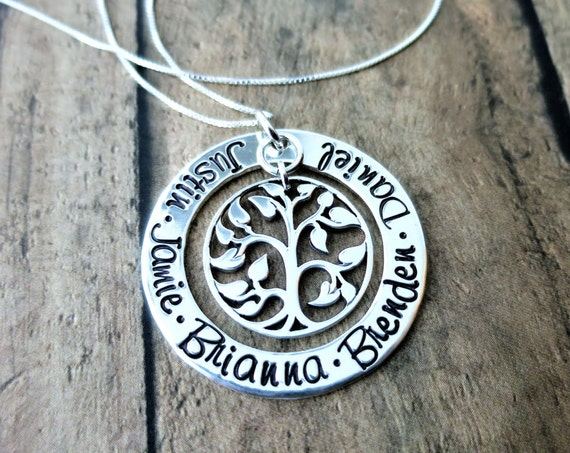 Mommy Necklace | Gift for Mom | Grandma Jewelry | Gift for Grandma | Tree of Life | Name Jewelry | Kids' Names | Grandkids' Names | Sterling