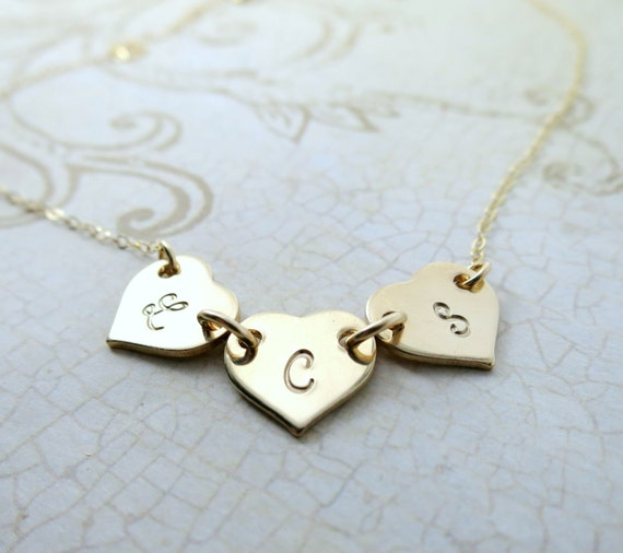 Heart Necklace - Three Hearts - Three Initials - Custom Mommy Necklace - Personalized Jewelry - Gift for Mom - Gift for Grandma - Gold Fill