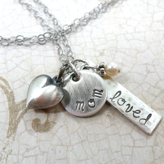 You Are Loved Necklace | Mom Necklace | Sterling Silver Charm Necklace for Mom | Gift for Mom | Gift for Mother's Day | Silver Heart | Pearl