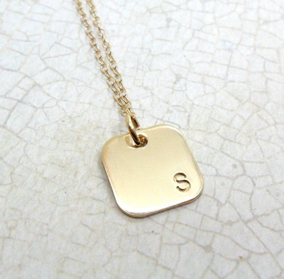 Gold Monogram Necklace | Gold Initial Necklace | Square Pendant | Simple Necklace | Square Monogram | Block Font | Layering Necklace