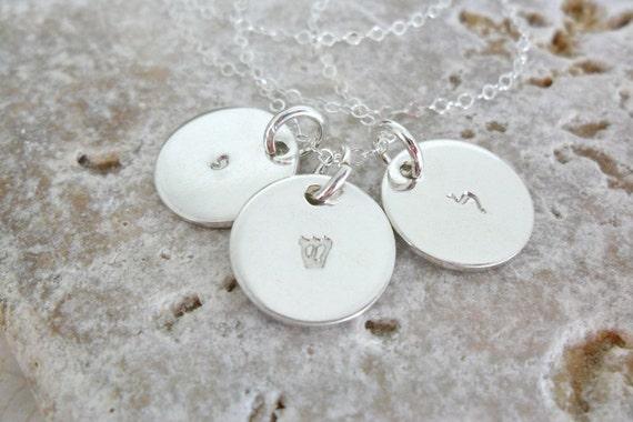 Hebrew Jewelry | Hebrew Necklace | Hebrew Initials | Hebrew Monogram | Hebrew Mommy Necklace | Hebrew Family Necklace | Sterling Silver
