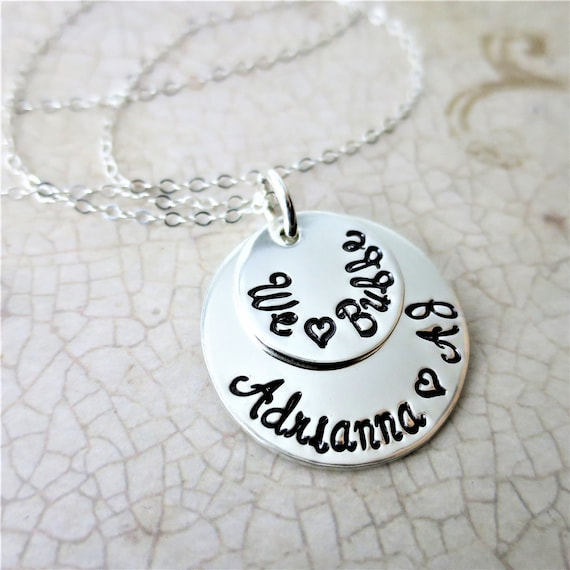 We Love Bubbie | Custom Stacked Disc Necklace | Gold Fill Discs | Script Font | Gift for Grandma | Jewish Grandmother | Custom Names