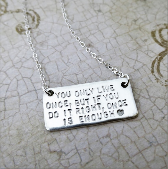 Custom Quote Necklace | Rustic Pendant Necklace | Sterling Silver | Layering Jewelry | Love Note Jewelry