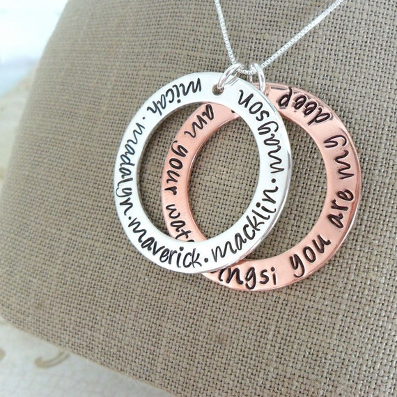 Washer Necklace | Copper Washer Necklace | Quote Necklace | Mommy Necklace | I am your water wings you are my deep