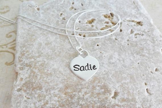 Name Necklace | Heart Necklace | Custom Name Jewelry | Custom Name Necklace | Personalized Gift | Hand Stamped Jewelry | Sterling Silver