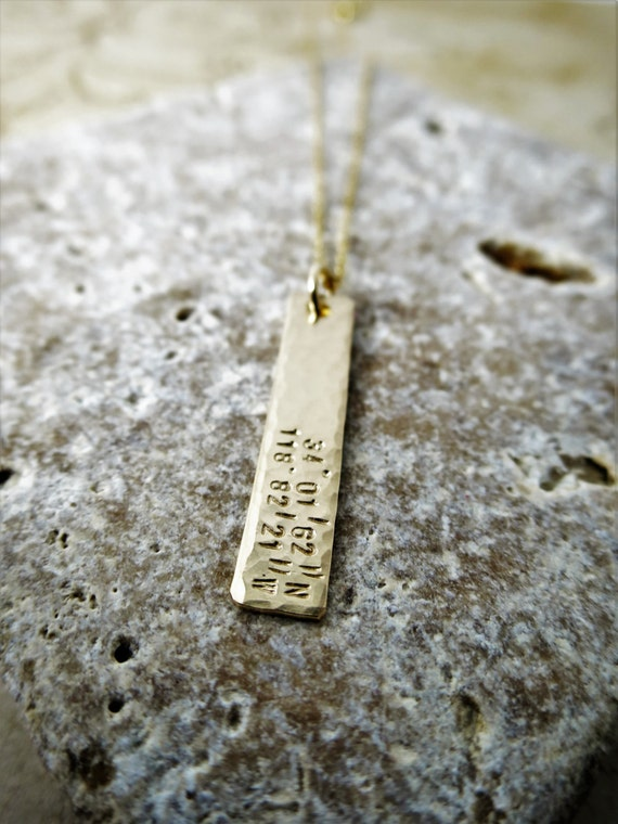 Latitude and Longitude Necklace - Gold Bar Necklace - Custom - Personalized - Coordinates - Gold Fill - Birthday Gift - Gift for Girlfriend