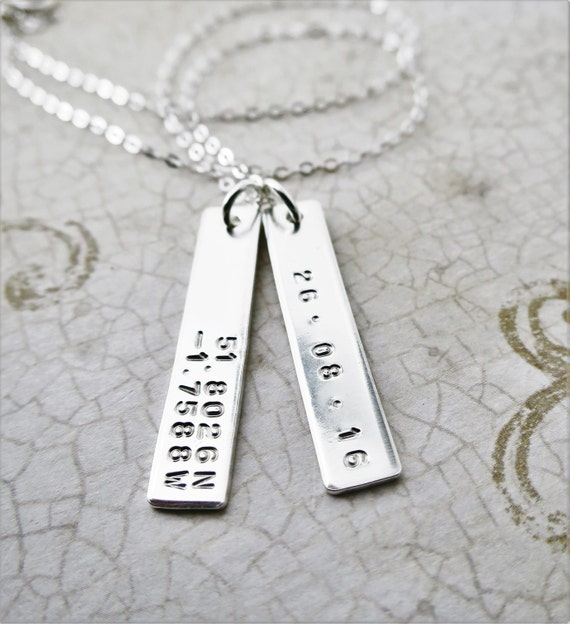 Latitude Longitude Necklace - Coordinate Necklace - Sterling Silver