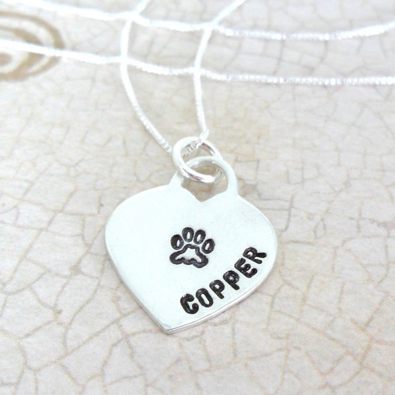Pet Necklace | Custom Paw Print Necklace | Paw Print Heart | Pet Name Necklace | Pet Mom Jewelry | Pet Love | Pet Loss | Dog Jewelry | Cat