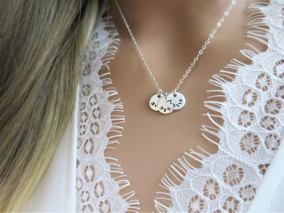 Hebrew Necklace | Tiny Discs Necklace | Hebrew Name Necklace | Sterling Silver | Jewish Mom | Jewish Grandma | Bat Mitzvah