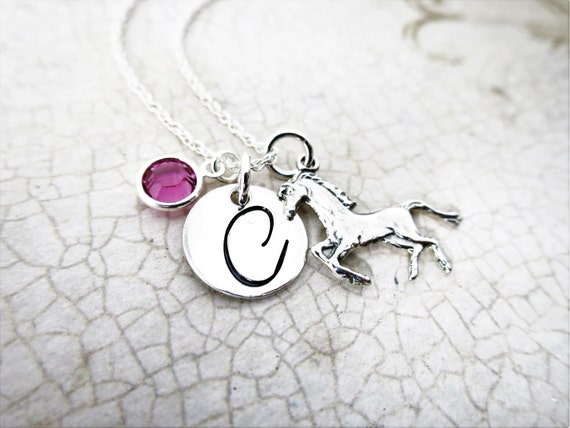 Initial Necklace | Horse Necklace | Horse Charm | Sterling Silver Horse Charm | Custom Initial Necklace with Horse Charm | Birthstone