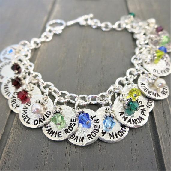 Silver Charm Bracelet | Mommy Jewelry | Grandma Jewelry | Custom Names | Kids' Names | Grandkids Names | Hand Stamped | Birthstones | Family
