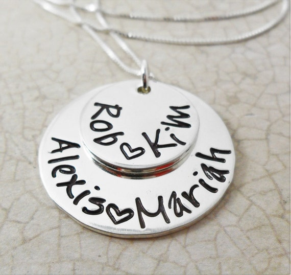 Mommy Jewelry | Mommy Necklace | Gift for Mom | Gift for Grandma | Kids' Names | Sterling Silver Discs | Stacked Discs | Two Silver Discs