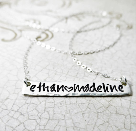 Custom Sterling Silver Bar Necklace | Long Horizontal Bar Necklace | Hand-Stamped | Personalized Silver Bar Jewelry | Custom Gift