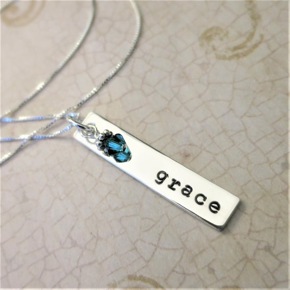 Name Necklace - Sterling Silver Bar Necklace - Typewriter Font - Personalized Jewelry - Birthstone