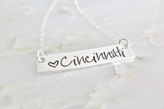 Cincinnati Jewelry - Cincinnati Necklace - Ohio Jewelry - Custom City Jewelry - Hometown - Silver Bar Jewelry - Silver Bar Necklace