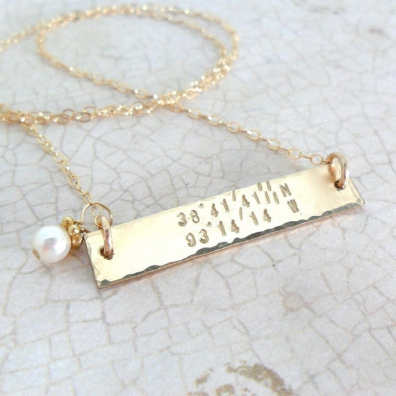 Latitude Longitude Necklace - Horizontal Bar Necklace - Gold Bar Necklace - Custom Coordinates - Hammered Gold Bar - Pearl Drop