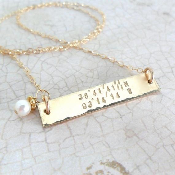 Latitude Longitude Necklace | Horizontal Bar Necklace | Gold Bar Necklace | Custom Coordinates | Hammered Gold Bar | Pearl Drop