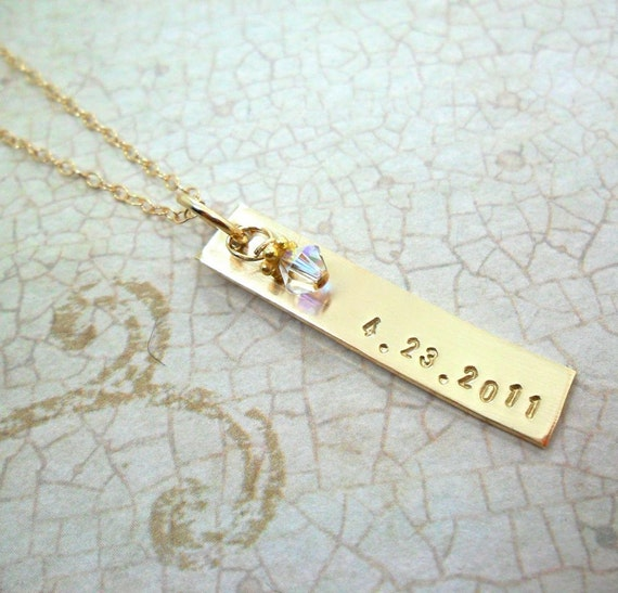 Personalized Bar Necklace | Custom Date Jewelry | Hand-stamped 14k Gold Filled | Swarovski Crystal Drop | Push Present | Special Date Gift