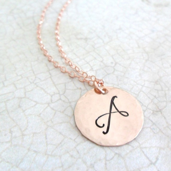 Rose Gold Initial Necklace | Rose Gold Script Monogram | Large Letter Monogram | Rose Gold Jewelry | Layering Necklace | Initial Jewelry