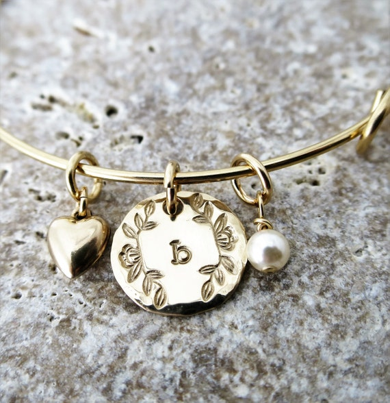 Gold Fill Bangle Bracelet - Expandable Gold Fill Bangle Bracelet - Custom Initial Bangle - Magnolia Branch - Typewriter Font - Pearl - Heart