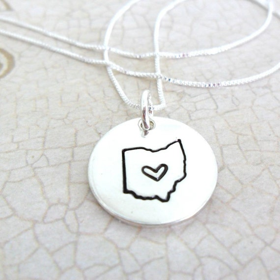 Ohio Necklace | State Necklace | Ohio State Necklace | I love Ohio Necklace | Ohio Jewelry | Cincinnati | Columbus | Cleveland | Sterling