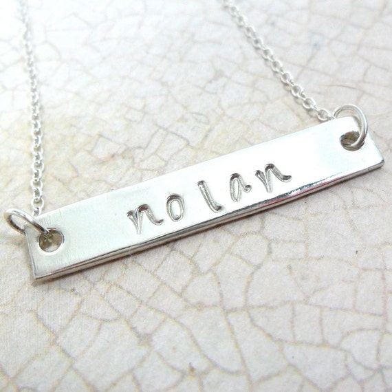Sterling Silver Bar Necklace | Silver Name Necklace | Horizontal Silver Bar Jewelry | Hand Stamped | Mommy Jewelry