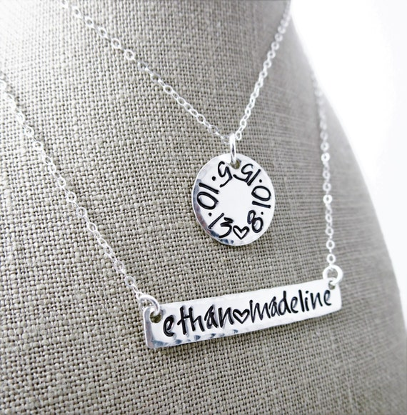 Mommy Necklace - Hand Stamped Kids Names - Birth dates - Sterling Silver Bar - Sterling Silver Disc - Handwriting Font - Layering Necklaces