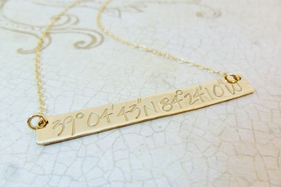 Gold Bar Necklace | Custom Coordinates Necklace | Personalized Latitude and Longitude Jewelry | Long Gold Bar Necklace | Latitude Longitude